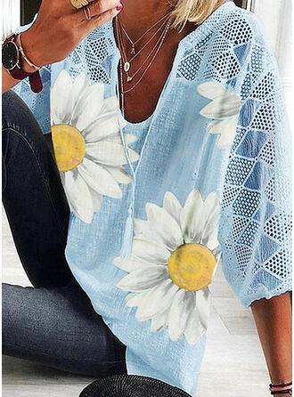 Impresión Floral Encaje Cuello en V Manga 1/2 Casual Blusas