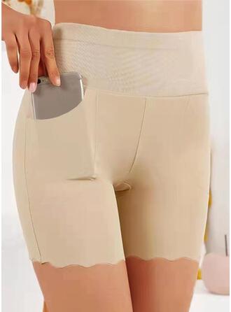 Sólido Acima do joelho Casual Tamanho positivo Bolso Calção Leggings