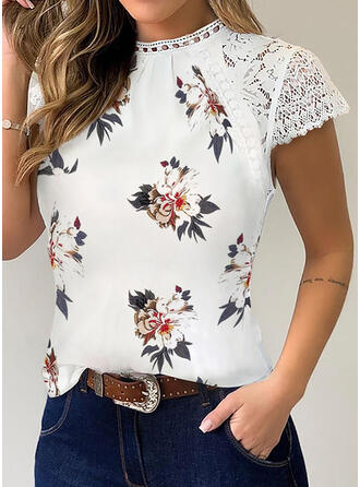 Print Floral Patchwork Lace Round Neck Short Sleeves Casual T-shirts