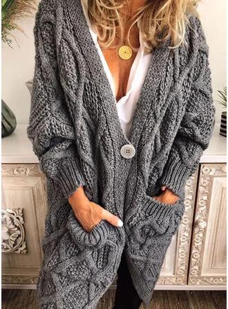 Solido Cavo Knit Maglia grossa Tasche Scollatura a V Casual Lungo Cardigan