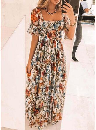 Nadrukowana/Kwiatowy Krótkie rękawy W kształcie litery A Łyżwiaż Elegancki Maxi Sukienki
