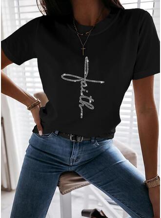 Paljetter Rund-ringning Korta ärmar T-tröjor