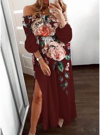Impresión/Floral Mangas 3/4 Acampanado Casual/Elegante Maxi Vestidos