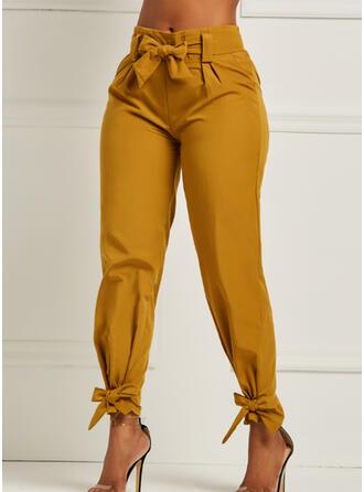 Solid Shirred Lång Elegant Sexig Byxor