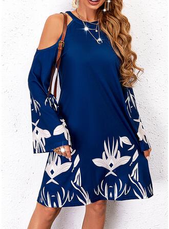 印刷 長袖 冷たい肩の袖 シフトドレス 膝丈 カジュアル チュニック ドレス