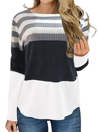 Barevný blok Pruhovaný Kulatý Výstřih Dlouhé rukávy Neformální Bluze