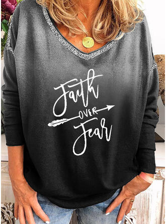 Figure Gradient Print Sequins Round Neck Long Sleeves T-shirts