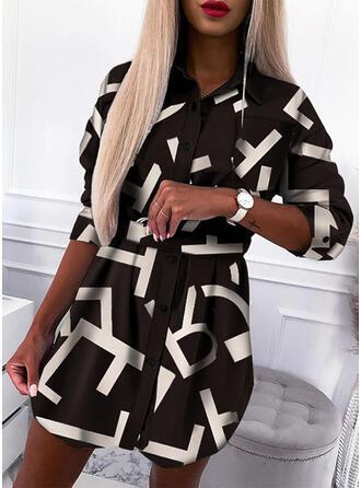 印刷/文字 長袖 シースドレス 膝上 カジュアル シャツ ドレス