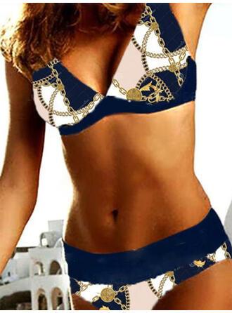 Floral Impresión Correa Cuello en V Sexy Antiguo Bikinis Trajes de baño