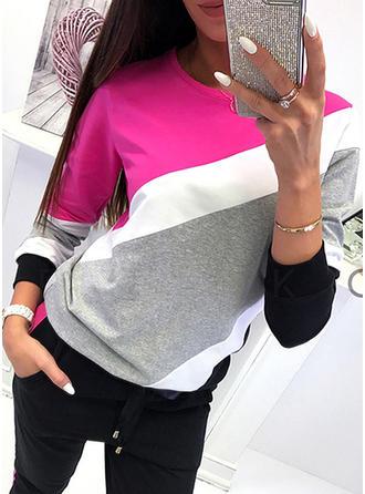 Bloque de color Cuello redondo Manga Larga Casual Tejido De Punto camiseta