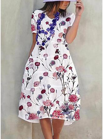 Impresión/Floral Manga Corta Acampanado Casual Midi Vestidos