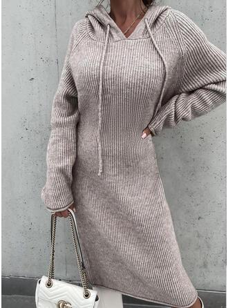 Sólido Manga Larga Manga raglan Vestidos sueltos Suéter Casual Midi Vestidos