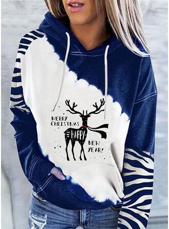 Christmas Print Color Block Letter Deer Hooded Long Sleeves Christmas Sweatshirt