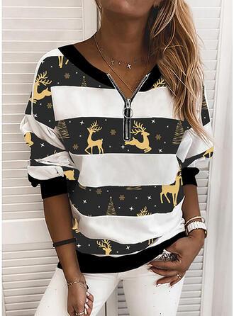 Color Block Animal Print V-Neck Long Sleeves Christmas Sweatshirt
