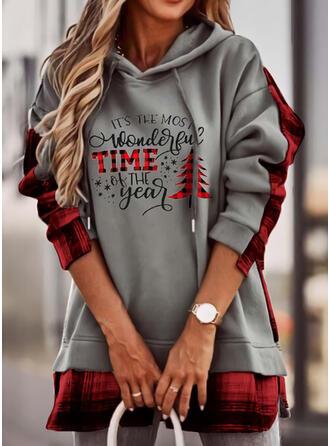 Impressão Grelha Figura Manga comprida Camisola de Natal