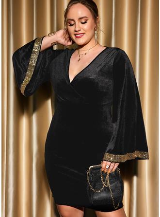 Print Sequins Long Sleeves Flare Sleeve Sheath Above Knee Little Black/Party/Plus Size Dresses