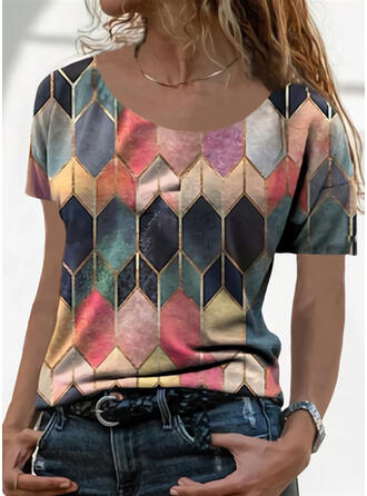 Geometric Print Round Neck Short Sleeves T-shirts