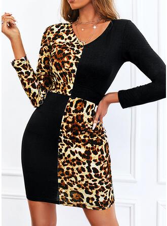 印刷/カラーブロック/ヒョウ 長袖 シースドレス 膝上 カジュアル ドレス