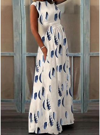 Nadrukowana Bez rękawów W kształcie litery A Łyżwiaż Elegancki Maxi Sukienki
