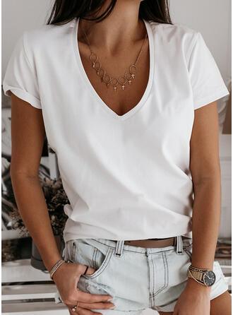 Sólido Cuello en V Manga corta Casual Camisetas