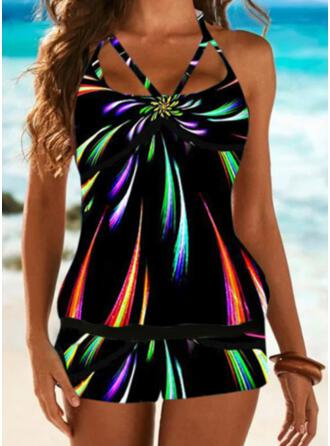 Tropical Print Patchwork Strap U-Neck Retro Casual Tankinis Swimsuits