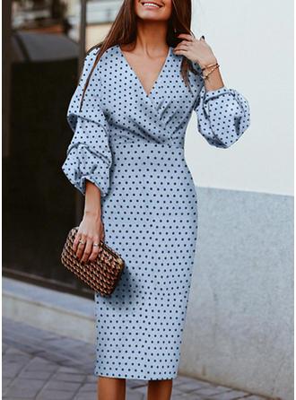 PolkaDot 3/4 Sleeves Sheath Casual Midi Dresses