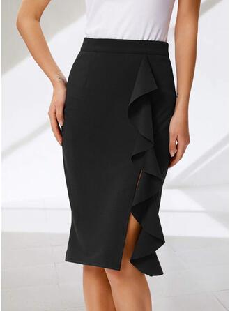 Polyester Jednobarevný Délka ke kolenům Úzké sukně
