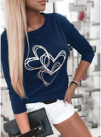 Corazón Impresión Cuello Redondo Manga Larga Camisetas