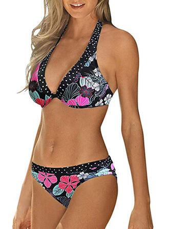 Floral Cintura Baja Sin Mangas Cuello redondo Sexy Casual Bikinis Trajes de baño