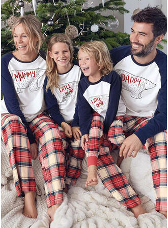 Oso Tela Escocesa Dibujos animados Familia a juego Pijamas De Navidad