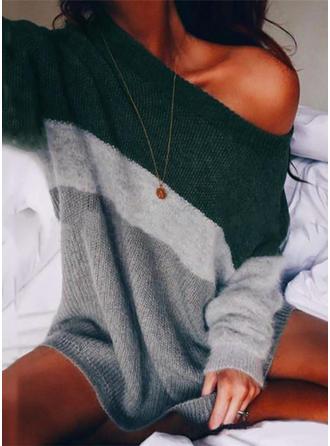Bloque de Color Un hombro Vestido de Suéter