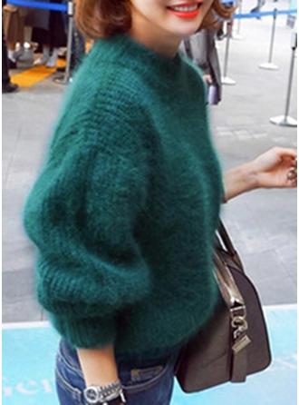 Sólido Cuello de Soporte Suéteres