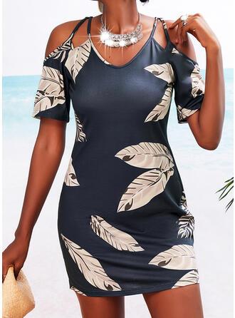 印刷 1/2袖 シースドレス 膝上 カジュアル ドレス