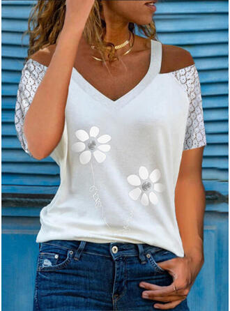 Print Floral Lace Figure Cold Shoulder Short Sleeves Casual Blouses