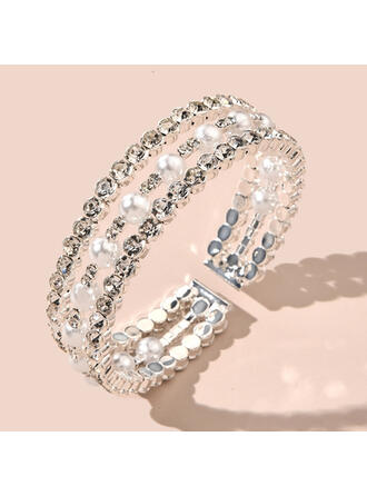 合金 ラインストーン 模造真珠 とともに ラインストーン 模造真珠 ブレスレット