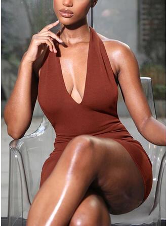 Sólido/Escotado por detrás Sin mangas Ajustado Sobre la Rodilla Sexy/Casual Vestidos