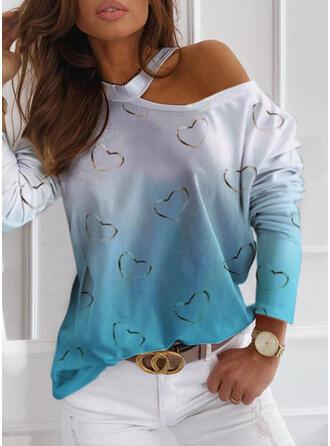 Print Tie Dye One-Shoulder Long Sleeves Casual Blouses