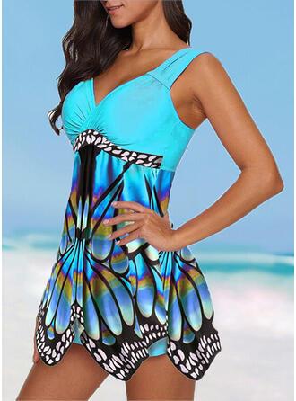 Color de Empalme Estampado tropical Volantes Correa Cuello en V Talla extra Colorido Llamativo Casual Bañadores Trajes de baño