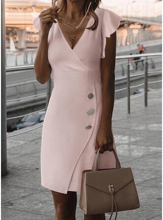 固体 半袖 フリルスリーブ シースドレス 膝丈 エレガント ドレス