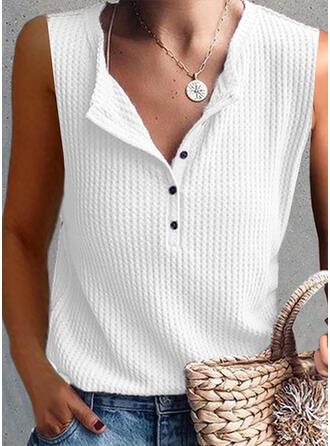 Sólido Cuello en V Sin mangas Con Botones Casual Tejido De Punto Camisetas sin mangas
