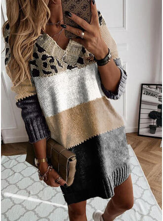 Print Color Block Leopard V-Neck Casual Sweater Dress