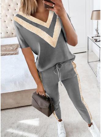 Rand Color Block Fritids Extra stor storlek tee & Tvådelade kläder uppsättning