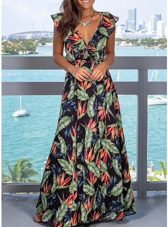 Print/Backless Sleeveless A-line Wrap/Skater Sexy/Party Maxi Dresses