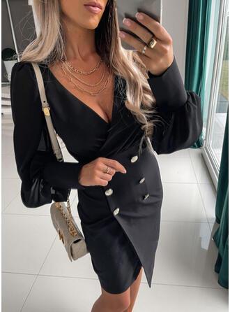 固体 長袖 ランタンスリーブ ボディコンドレス 膝上 リトルブラックドレス/エレガント ドレス