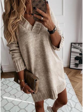 固体 Knit 長袖 シフトドレス 膝上 カジュアル セーター ドレス