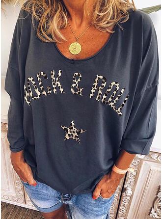 Impresión Leopardo Cuello en V Mangas 3/4 Casual Camisetas