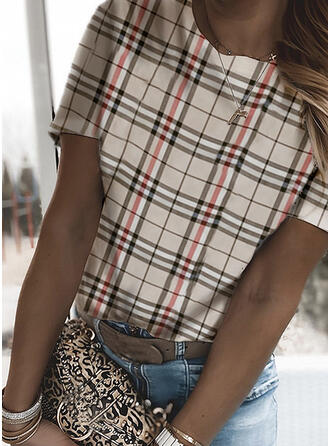 Plaid Round Neck Short Sleeves T-shirts