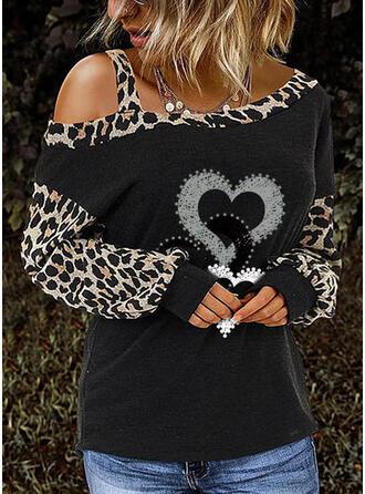 Print Leopard En-axels Långa ärmar Fritids Stickning Blusar