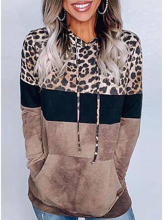 Impresión Bloque de color Leopardo Sudadera Con Capucha Manga Larga Casual Blusas