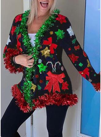 Navidad Impresión Cuello en V Casual Suéteres